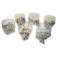 ARTHUR COURT - SAFARI  SERIES - Set of Six Different Silver Plated Animals Double Old Fashioned Glasses =c early 1990s