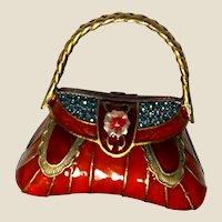 "Unusual Vintage 'Jeweled' Enameled Handbag Trinket Dresser Box - Beautiful! - Signed ""D-Z"""