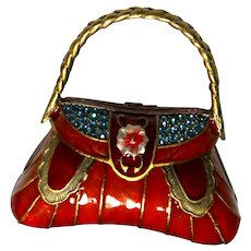 "Unusual Vintage 'Jeweled' Enameled Handbag Trinket Dresser Box - Beautiful! - Signed ""D-Z"""