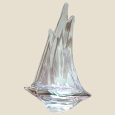 DAUM France Signed Large Triple Mast Sailboat Crystal Sculpture, In Original Box, (10  1/4 inches tall)