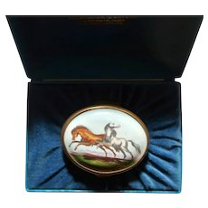 HALCYON DAYS Bilston & Battersea RARE Enamel  Trinket Box or Snuff Box With Horses, From England, In Original Presentation Box