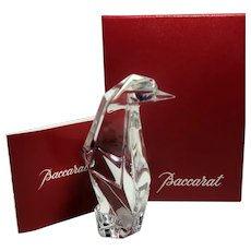 BACCARAT (France)   Signed Crystal Origami Penguin In Original Box - Excellent Condition