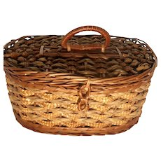 VERY RARE Antique Huntley Palmers Basket Form Biscuit Tin With Actual Tin Inside, Very Unusual!