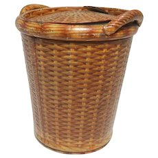 Huntley & Palmers Two Handle Wicker Basket-Form Biscuit Tin, c 1904.