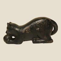 Black Cat Playing With a Ball Cast Iron Bank, Vintage or Older