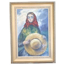 Original Signed Portrait Of A Young Girl With Her Hat -