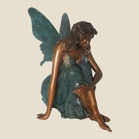 Bronze Seated Angel With Butterfly, So Sweet!