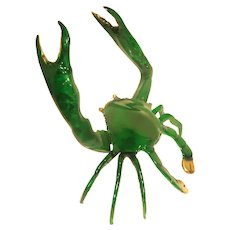 Larger Bronze Green Crab With Gold-Colored Claws - Very Attention Getting!