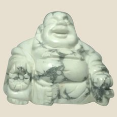 Miniature Buddha, Hand-Carved Polished Carrera Marble,
