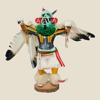 Native American Large Hand-Carved Eagle Dancer Kachina Doll, Vintage, Artist Signed,