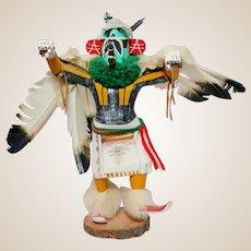 Native American Large Hand-Carved Eagle Dancer Kachina Doll, Vintage, Artist Signed,
