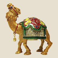 """Jeweled"" Camel Trinket Box or Dresser Box With Faux Diamonds,  and ""Pearl"" With Lovely Enameling in Red, Yellow and Green"