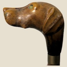 Walking Stick or Cane Carved Wood Dog's Head With Green Glass Eyes