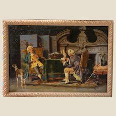 "POMPEO MASSANI (Italian, 1850-1920) - ""Card Players"" -Original Antique Oil Painting On Mahogany Panel."