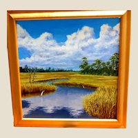 """""""Marsh Study V"""" - Excellent Original Signed Oil Painting By Outstanding Contemporary Artist, Carolann Knapp, With Hand-Written Note From The Artist."""