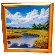 """""""Marsh Study V"""" - Excellent Original Signed Oil Painting By Outstanding Contemporary Artist, Caralann Knapp, With Hand-Written Note From The Artist."""