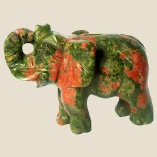 """Hand-Carved Miniature Elephant of Unakite, Said To Be """"The Ultimate Stone For Living Out The Spirit Of Carpe Diem"""""""