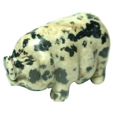Miniature Pig, Hand-Carved Spotted Jasper