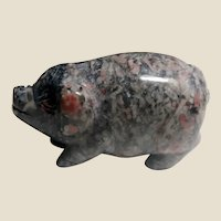 Unusual Well-Carved Miniature Pig -Obsidian and Agate Mixture