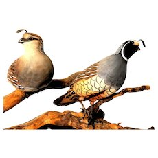 Finely Carved Wood Pair of Quail, Signed/Dated 1980.