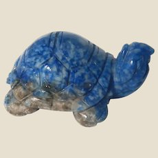 Carved Miniature Turtle of Sodalite, A Stone Said to Give You A Renewed Sense of Confidence and Self-Esteem