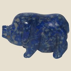 Carved Miniature Pig of Sodalite.  Pigs Represent Luck and Good Fortune; Sodalite Said to Give You A Renewed Sense of Confidence and Self-Esteem