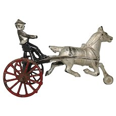 Cast Iron Horse Drawn Sulky With Driver, Larger Size 7  1/2 inches long, 5 inches tall,  Vintage or Older