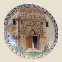 Huge Glazed Ceramic Charger Showing A Gothic Archway, From The Prestigious Remick Estate; Vintage or Older.