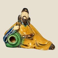 RARE Chinese Mudman Li Bai Po,  Reclining With Wine Jug And Cup, Brushwasher