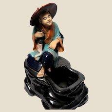 RARE Large Chinese Mudman Boy With Flywhisk On Brushwasher (Water Vase)