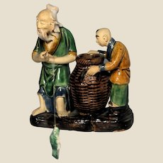 VERY RARE Chinese Mudman Double Figure Brushwasher -  Old Fisherman and Boy With Original Fish
