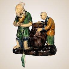 VERY RARE Chinese Mudman Double Figure Brushwasher -  Old Fisherman and Boy With Original Fish