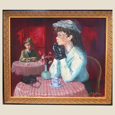 "Andre Chochon, (French:1910-2005) -  Original Signed Oil On Canvas - ""Lady In A Veil"" (""La Femme A La Voilette"" )"