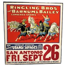 Ringling Bros and Barnum and Bailey Vintage Circus Poster, Very Large!
