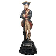 Continental Army Soldier Doorstop, Large Vintage Polychrome Painted Cast Iron Americana.