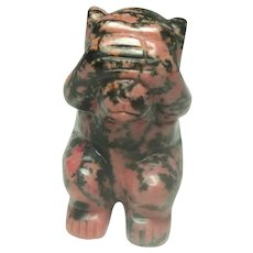 Rhodonite Miniature Gorilla or Monkey, Hand Carved, Well-Carved.