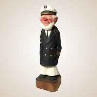 "AL DAVIDSON (Canadian, 20th Century) Original Signed Hand-Carved Hand-Painted Wood Sculpture ""The Captain"" -"