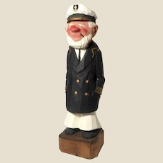 """AL DAVIDSON (Canadian, 20th Century) Original Signed Hand-Carved Hand-Painted Wood Sculpture """"The Captain"""" -"""
