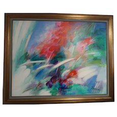 ALBERT DEMAN (French, 1929 - 1996) - HUGE Original Signed Oil On Canvas - Abstract At Its Best!