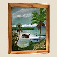 "FLORIDA HIGHWAYMAN Rodney Demps -(American 1953 - 2020) - Original Signed Oil ""Rowboat On The River"""