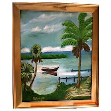 """FLORIDA HIGHWAYMAN Rodney Demps -(A red poinciana treemerican 1953 - 2020) - Original Signed Oil """"Rowboat On The River"""""""