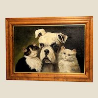 """Learn To Love"" - Original Signed Portrait of Three Friends - One Dog and Two Cats."