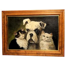 """""""Learn To Love"""" - Original Signed Portrait of Three Friends - One Dog and Two Cats."""
