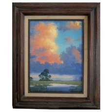 """DON D. BROWN (American, b. 1947) - Original Signed Oil on Canvas, """"Clouds- Great Art From God"""" - Taught By A. E. Backus"""
