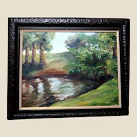 """""""Mysterious Pool At Harbor Branch"""" - Signed Original Oil Painting By Impressionist Artist, Dorothy Hudson"""