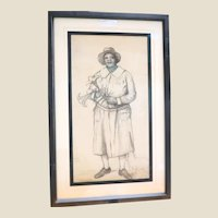 "THOMAS CURRIE BELL (Scottish/American 1873 - 1946) Original Signed Drawing  ""Lucretia (Helen)"""