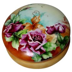 Limoges Artist Signed Large Dresser Box or Jewelry Box or Trinket Box or Powder Box With Purple And Yellow Roses