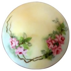 "Austrian Porcelain Dresser Box(or Trinket Box or Jewelry Box) With Pink Flowers, Green Leaves - Signed ""D & E G Royal Austria"""