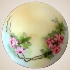 """Austrian Porcelain Dresser Box(or Trinket Box or Jewelry Box) With Pink Flowers, Green Leaves - Signed """"D & E G Royal Austria"""""""