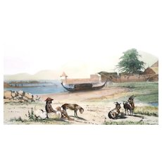 Antique Hand-Colored Lithograph Of A Pacific Island Scene - From Dumont D'Urville's Voyage